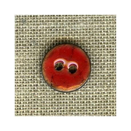 Enamelled little coconut button, col. Cherry