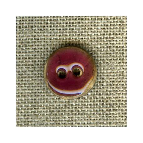 Enamelled little coconut button, col. Plum