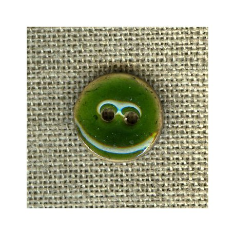 Enamelled little coconut button, col. Fir tree