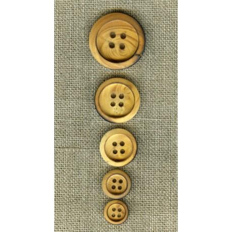 Boxwood natural wood button 4 holes burned edge