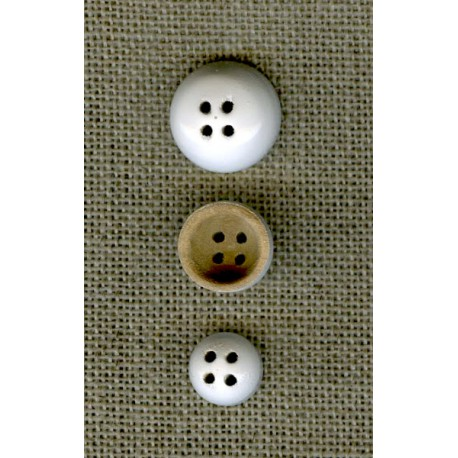 Wood reversible button Bells, White lacquered