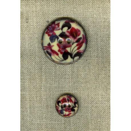 Bouton en noix de coco émaillée, col. Fleurs des îles 2