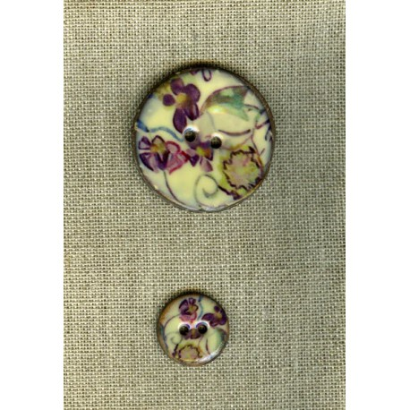 Enamelled coconut button, col. Island flowers 3