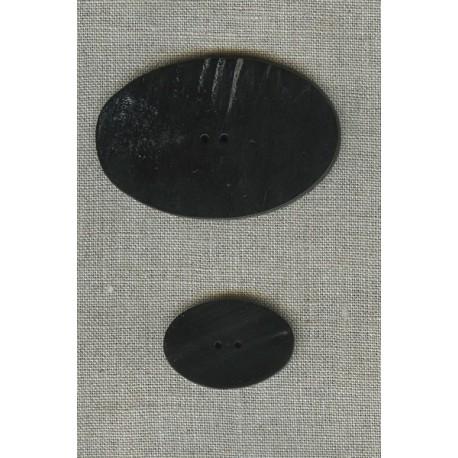 Bouton Oval en corne Noire