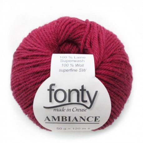 FONTY wool knitting yarn, qual.AMBIANCE, col. Raspberry 307