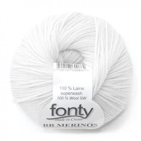 Laine à Tricoter BB MERINOS de Fonty, col. Blanc parfait 855