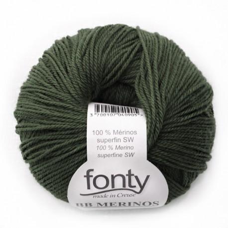 FONTY wool knitting yarn, qual.BB MERINOS, col. Forest 825