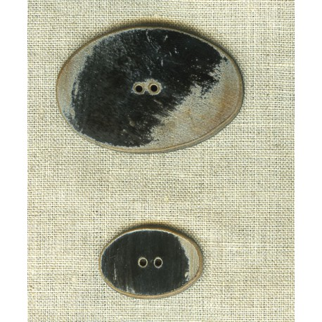 Bouton Oval en corne brulée Noire.