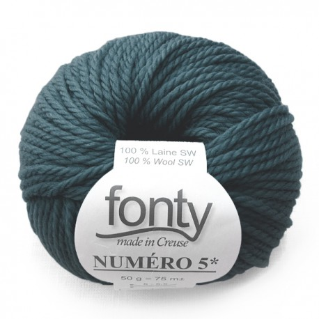 FONTY wool knitting yarn qual. NUMERO 5, col. North Sea 236