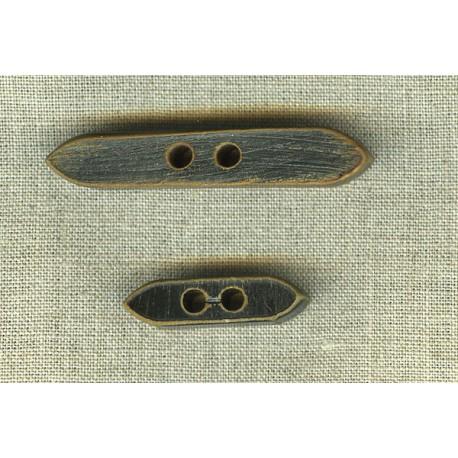 Bouton Bûche épais en corne Noire brûlée.