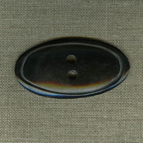 Bouton ovale en corne noire, gravé cercle