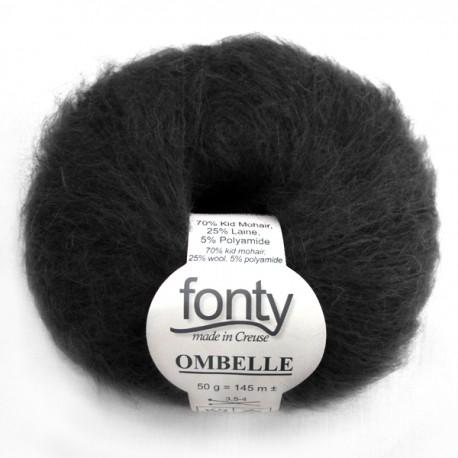 FONTY wool knitting yarn, qual. Ombelle, col. Black 1000