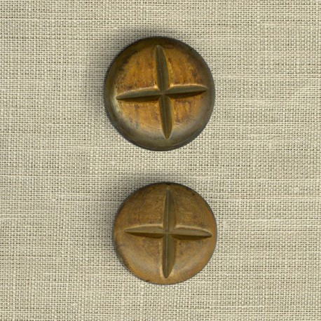 Burnt horn convex button with cross, wood effect