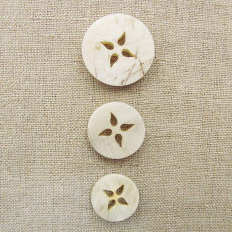 Bouton en corne blonde, fleur de badiane
