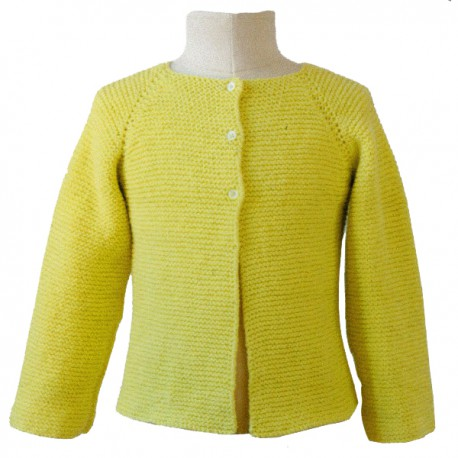 CITRONILLE knitting pattern N°57, Raglan cardigan in garter stitch.