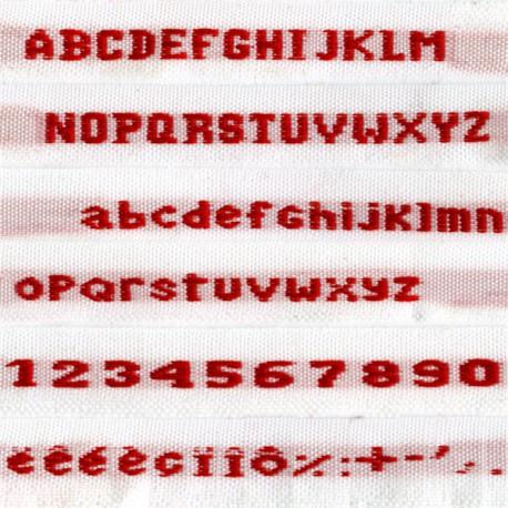 Etiquettes tissées, Modèle N - Ruban Blanc 9 mm - Lettrage Rouge
