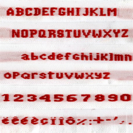 Woven labels, Model N – White 9mm ribbon – Red lettering