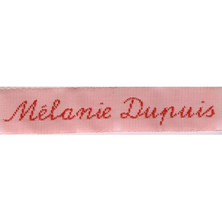 Woven labels, Model Y - Pink 12mm ribbon - Red lettering