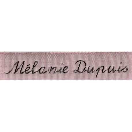 Woven labels, Model Y - Pink 12mm ribbon - Black lettering