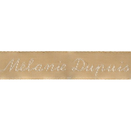 Woven labels, Model Y - Beige 12mm ribbon - White lettering