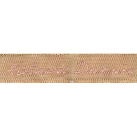 Woven labels, Model Y - Beige 12mm ribbon - Pink lettering