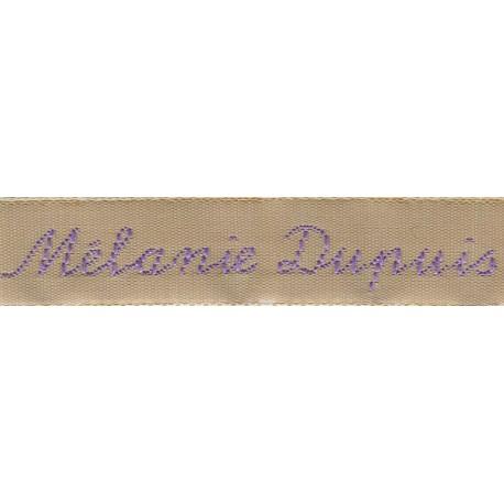 Woven labels, Model Y - Beige 12mm ribbon - Violet lettering
