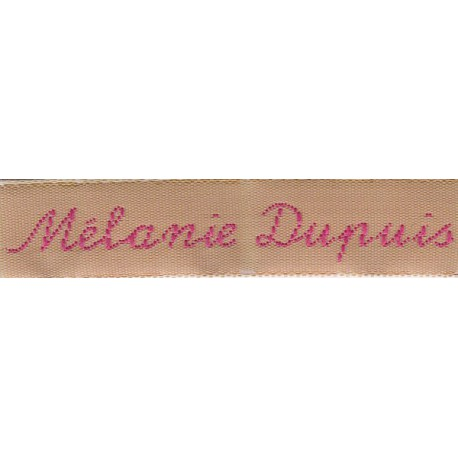 Woven labels, Model Y - Beige 12mm ribbon - Fuchsia lettering