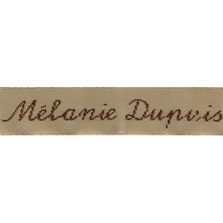Woven labels, Model Y - Beige 12mm ribbon - Brown lettering