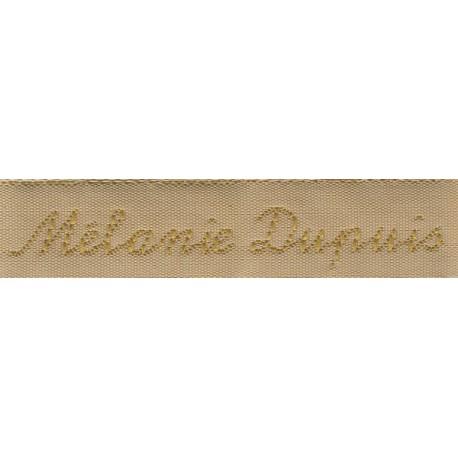 Woven labels, Model Y - Beige 12mm ribbon - Antique Gold lettering