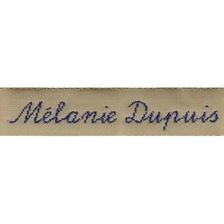 Woven labels, Model Y - Beige 12mm ribbon - Navy lettering