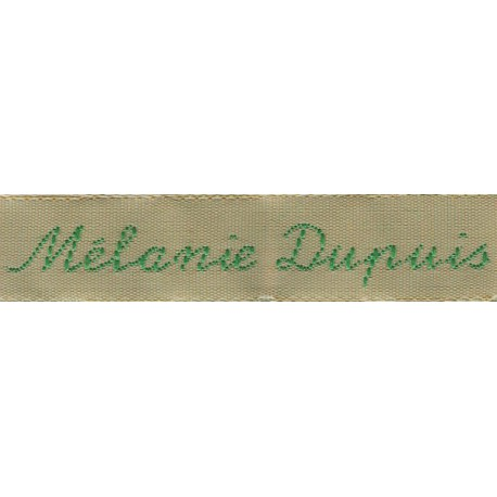 Woven labels, Model Y - Beige 12mm ribbon - Green lettering