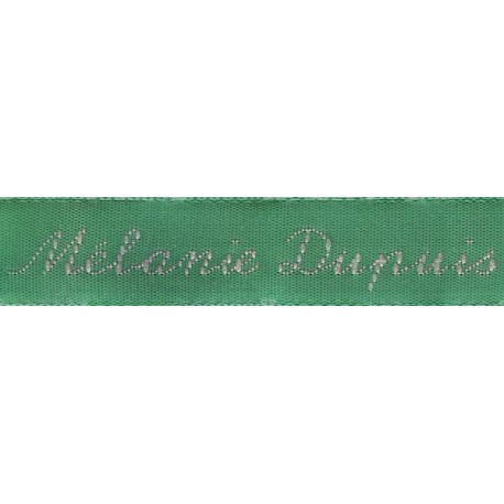 Woven labels, Model Y - Green 12mm ribbon - Pink lettering