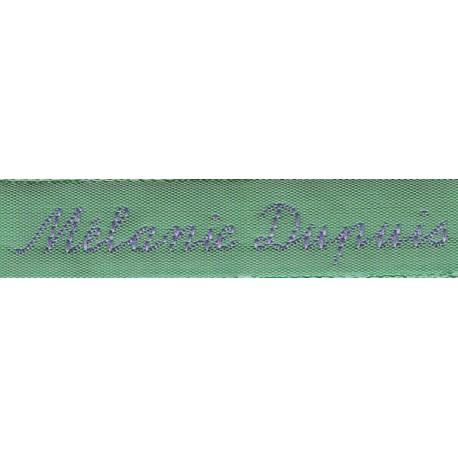 Woven labels, Model Y - Green 12mm ribbon - Violet lettering