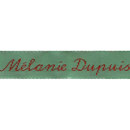 Woven labels, Model Y - Green 12mm ribbon - Red lettering