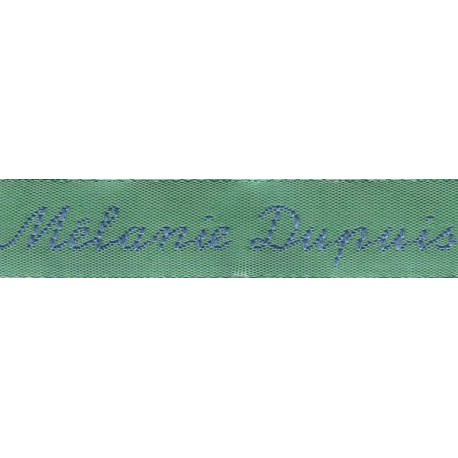 Woven labels, Model Y - Green 12mm ribbon - Sky-blue lettering