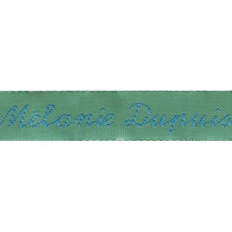 Etiquettes tissées Modèle Y - Ruban Vert 12mm - Lettrage Turquoise
