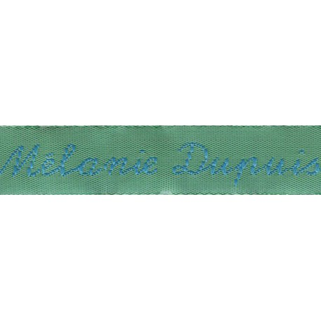 Woven labels, Model Y - Green 12mm ribbon - Turquoise lettering