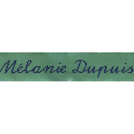 Woven labels, Model Y - Green 12mm ribbon - Navy lettering