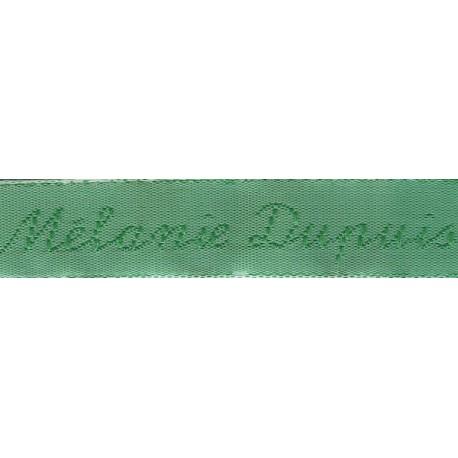 Woven labels, Model Y - Green 12mm ribbon - Green lettering