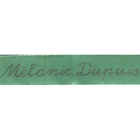 Etiquettes tissées Modèle Y - Ruban Vert 12mm - Lettrage Gris