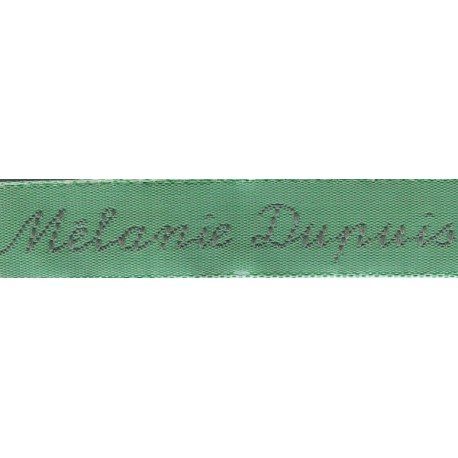 Woven labels, Model Y - Green 12mm ribbon - Grey lettering
