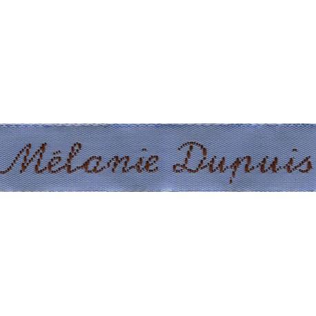 Woven labels, Model Y - Blue 12mm ribbon - Brown lettering