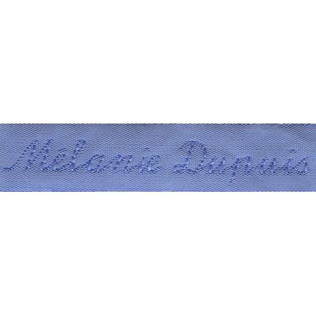 Woven labels, Model Y - Blue 12mm ribbon - Sky-blue lettering