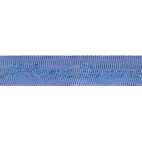 Woven labels, Model Y - Blue 12mm ribbon - Turquoise lettering
