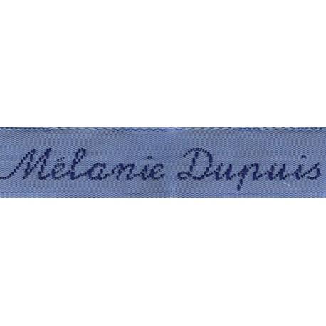 Etiquettes tissées Modèle Y - Ruban Bleu 12 mm - Lettrage Marine