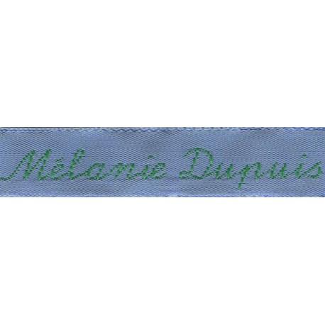 Woven labels, Model Y - Blue 12mm ribbon - Green lettering