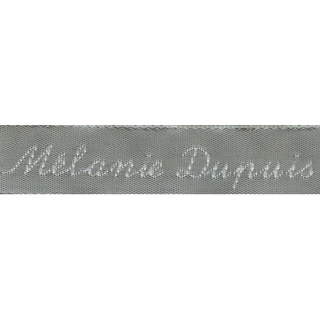 Woven labels, Model Y - Grey 12mm ribbon - White lettering