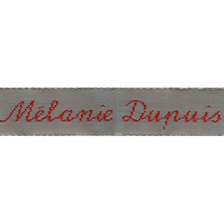 Woven labels, Model Y - Grey 12mm ribbon - Red lettering