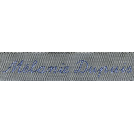 Woven labels, Model Y - Grey 12mm ribbon - Sky-blue lettering