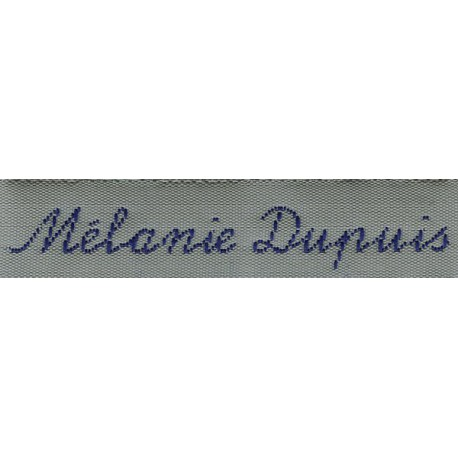 Woven labels, Model Y - Grey 12mm ribbon - Navy lettering